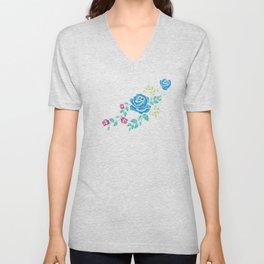 Blue Embroidery Rose Unisex V-Neck