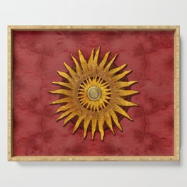 """Aztec Sun and pickled coral"" Serving Tray"