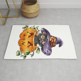 Cute Watercolor Halloween Black Cat with Witch Hat Rug