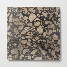 Terrazzo - Mosaic - Wooden texture and gold #2 Metal Print