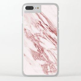 Deep rose pink marble Clear iPhone Case