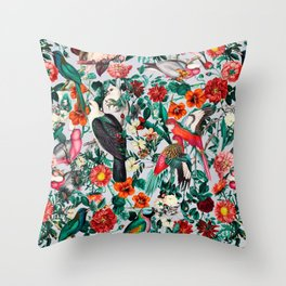 FLORAL AND BIRDS XIV Throw Pillow