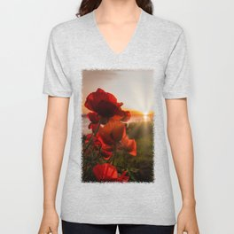 Poppies watching the sun set Unisex V-Neck