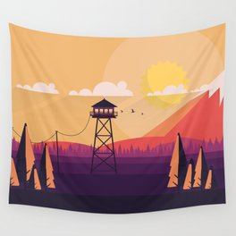 VECTOR ART LANDSCAPE WITH FIRE LOOKOUT TOWER Wall Tapestry