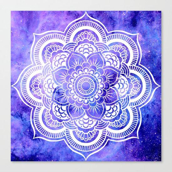 Mandala Violet Blue Galaxy Space Canvas Print