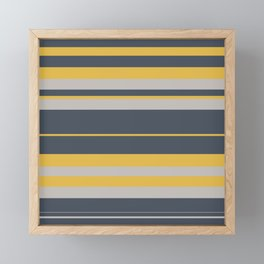 Pattern Bandes Colors Jaune/Gris Framed Mini Art Print