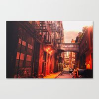 new york city Canvas Prints featuring New York City Alley by Vivienne Gucwa