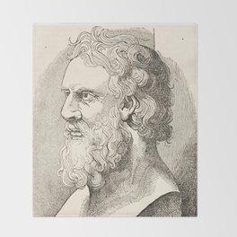 Vintage Plato The Philosopher Illustration Throw Blanket