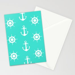AFE Turquoise Anchor and Helm Wheel Stationery Cards