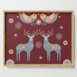 Nordic Winter Red Serving Tray