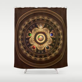 The Five Fractal Jeweled Elements of Qi Gong Shower Curtain