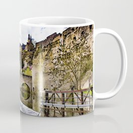 Blue Skies and the Alzette River with Waterfall at the Bock Casemates Ruins in Luxembourg Coffee Mug
