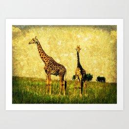 African Giraffe - Walking Africa Art Print