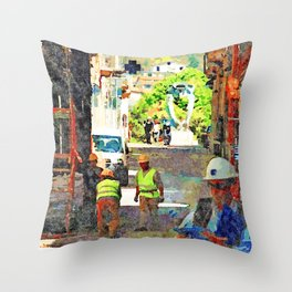 L'Aquila: workers at work Throw Pillow