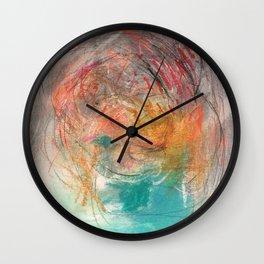 Naive - Abstract painting mixed media - luminous Wall Clock