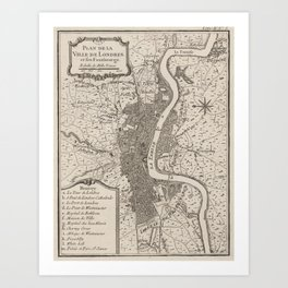 Vintage Map of London England (1764) Art Print