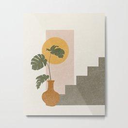 Geometric Abstract Monstera  Metal Print