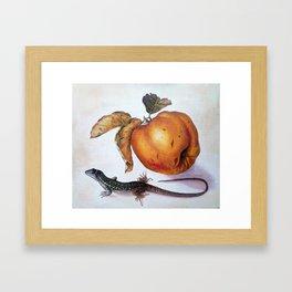 Fruit and lizard Framed Art Print