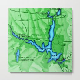Scituate, Rhode Island Map - Scituate, Rhode Island Metal Print