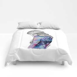 Galaxy Girl Watercolour Painting (Series 1) Comforters