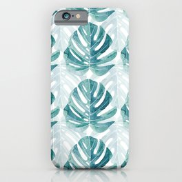 Monstera leaves Jungle leaves Turquoise Tropical Leaves iPhone Case
