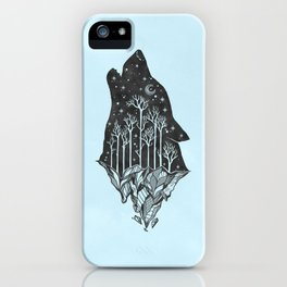 Adventure Wolf - Nature Mountains Wolves Howling Design Black on Turquoise Blue iPhone Case