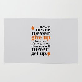Lab No. 4 - Never give up in your life Gym Motivational Quotes Poster Rug