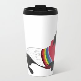 Black Great Dane with a sweater Travel Mug
