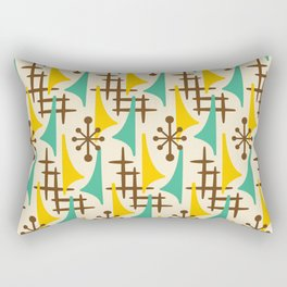 Retro Mid Century Modern Atomic Wing Pattern 427 Brown Yellow and Green Rectangular Pillow