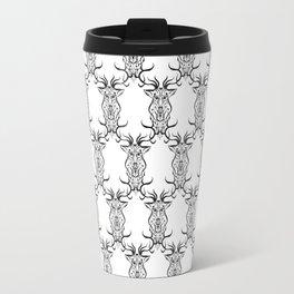 Deer Black and White Pattern Travel Mug