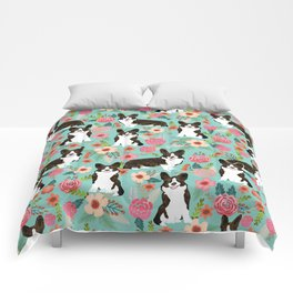 Brindle Cardigan Corgi Florals - cute corgi design, corgi owners will love this mint florals corgi Comforters