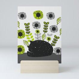 Sleepy cat and floral bouquet Mini Art Print