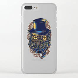 Steampunk Owl in Top Hat Gears Clear iPhone Case