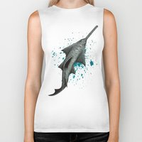 biology Biker Tanks featuring Sawfish - Acrylic Painting by Amber Marine