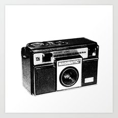 Retro Camera Sketch B/W Art Print