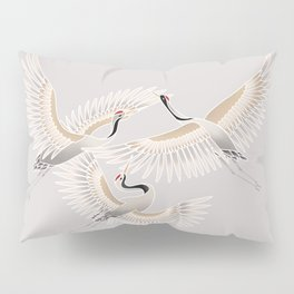 traditional Japanese cranes bright illustration Pillow Sham