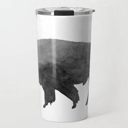 Charcoal Bison, Watercolor buffalo Travel Mug