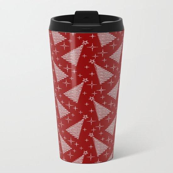 Merry Christmas- Abstract christmas tree pattern on festive red Metal Travel Mug