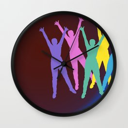 joyful man and rainbow Wall Clock