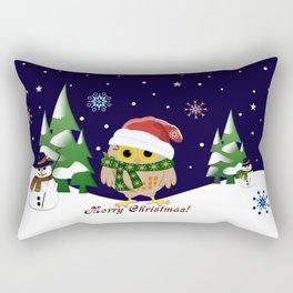 Cute Xmas pattern design with owls and snowmen Rectangular Pillow