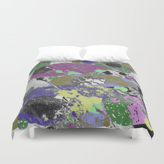 Stack Em Up! - Abstract, textured, pastel coloured artwork Duvet Cover