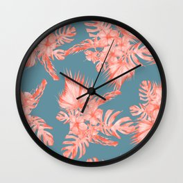 Dreaming of Hawaii Pale Coral on Teal Blue Wall Clock