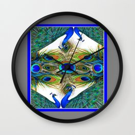 SITTING BLUE PEACOCKS FEATHER PATTERNS ART Wall Clock