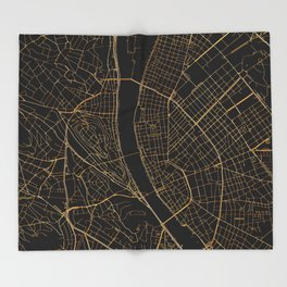 Black and gold Budapest map Throw Blanket