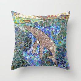 Whale and Girl Throw Pillow
