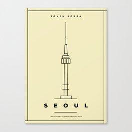 Minimal Seoul City Poster Canvas Print