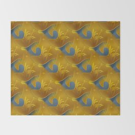 Golden Diamond Leaf pattern Throw Blanket