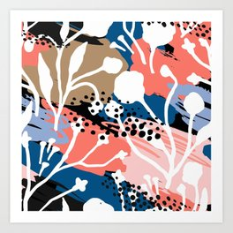 Coral pink white hand painted floral brushstrokes Art Print