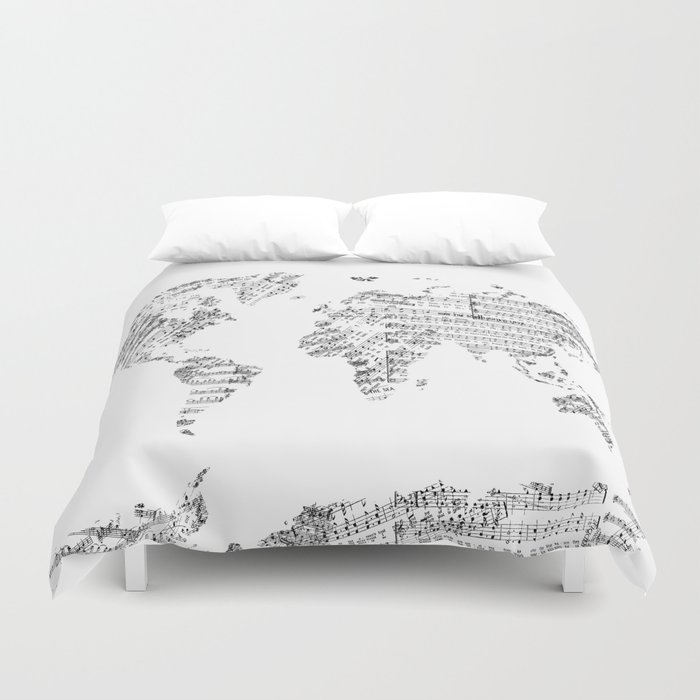 World map music vintage white duvet cover by bekimart society6 world map music vintage white duvet cover gumiabroncs Image collections