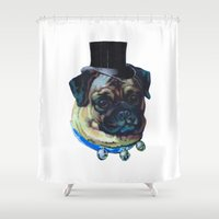 pugs Shower Curtains featuring Sir Pugs by Bonnie J. Breedlove